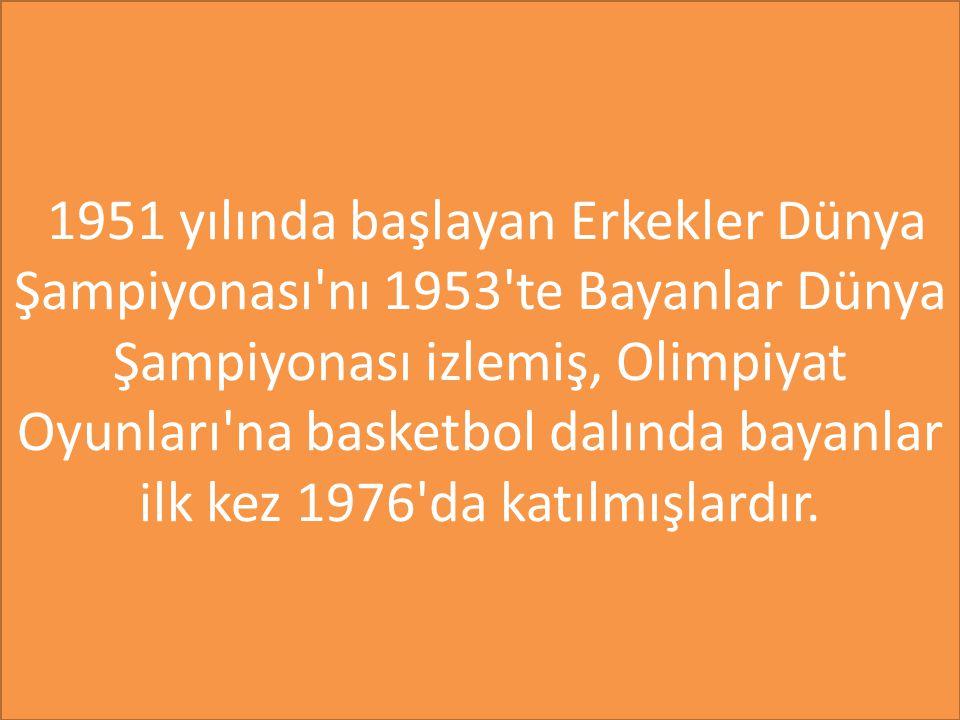 1951 yılında başlayan Erkekler Dünya Şampiyonası nı 1953 te Bayanlar Dünya Şampiyonası izlemiş, Olimpiyat Oyunları na basketbol dalında bayanlar ilk kez 1976 da katılmışlardır.