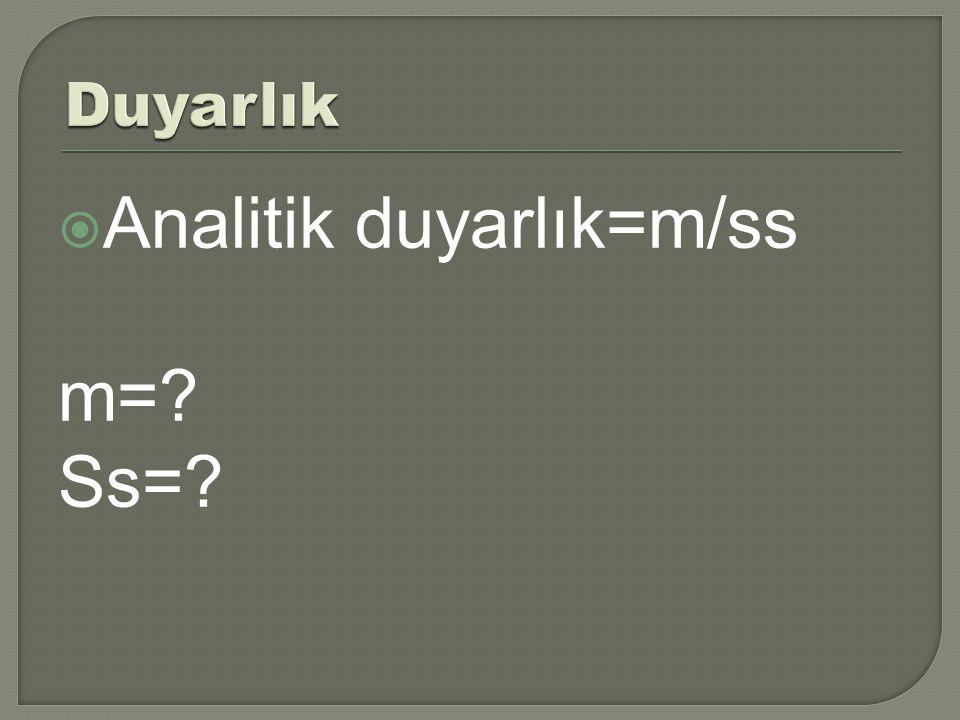  Analitik duyarlık=m/ss m=? Ss=?