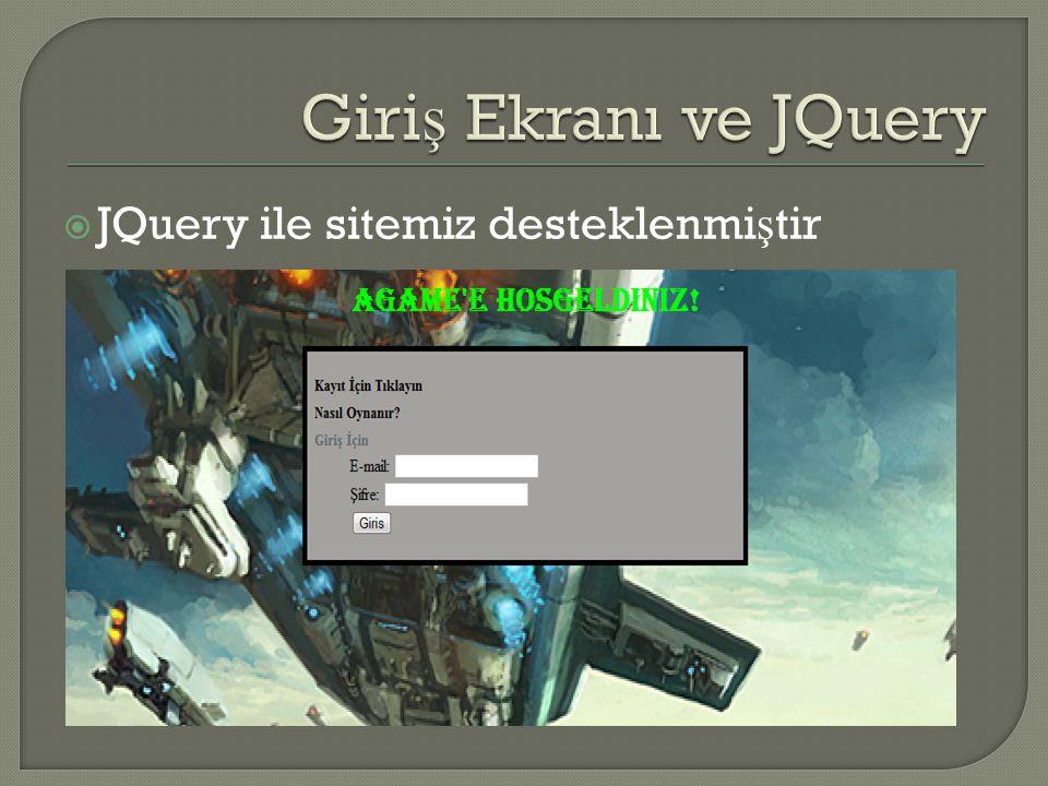  JQuery ile sitemiz desteklenmi ş tir