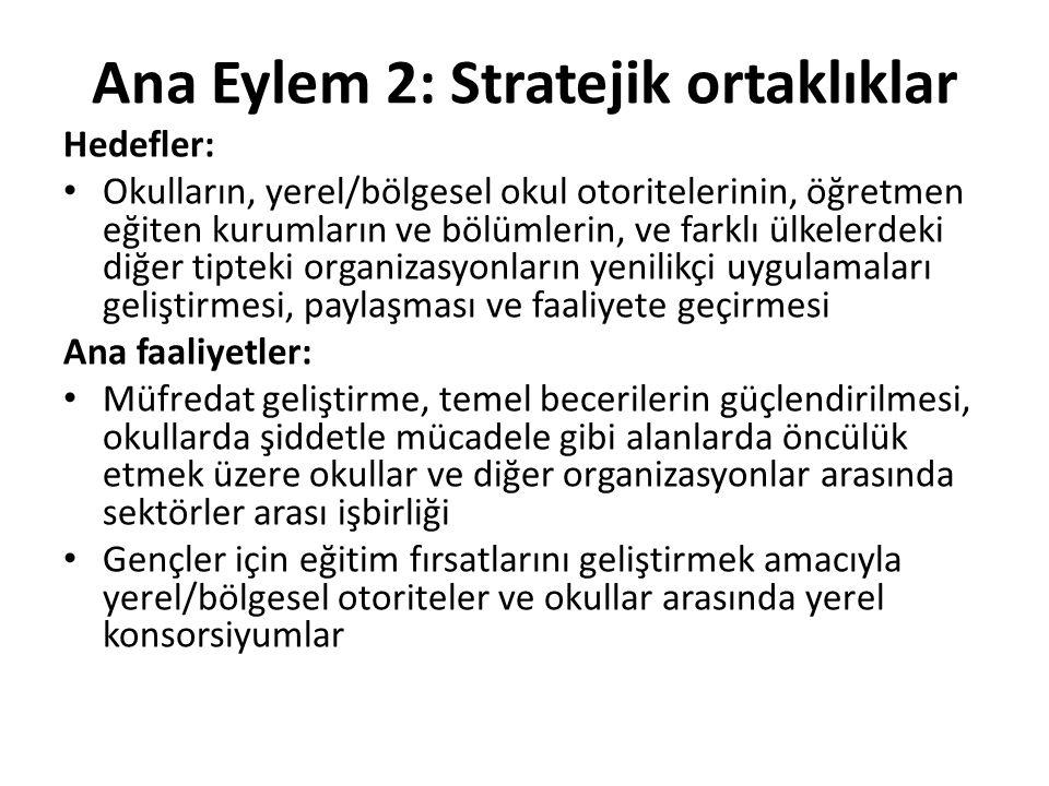 Ana Eylem 2: Stratejik ortaklıklar Hedefler: Okulların, yerel/bölgesel okul otoritelerinin, öğretmen eğiten kurumların ve bölümlerin, ve farklı ülkele