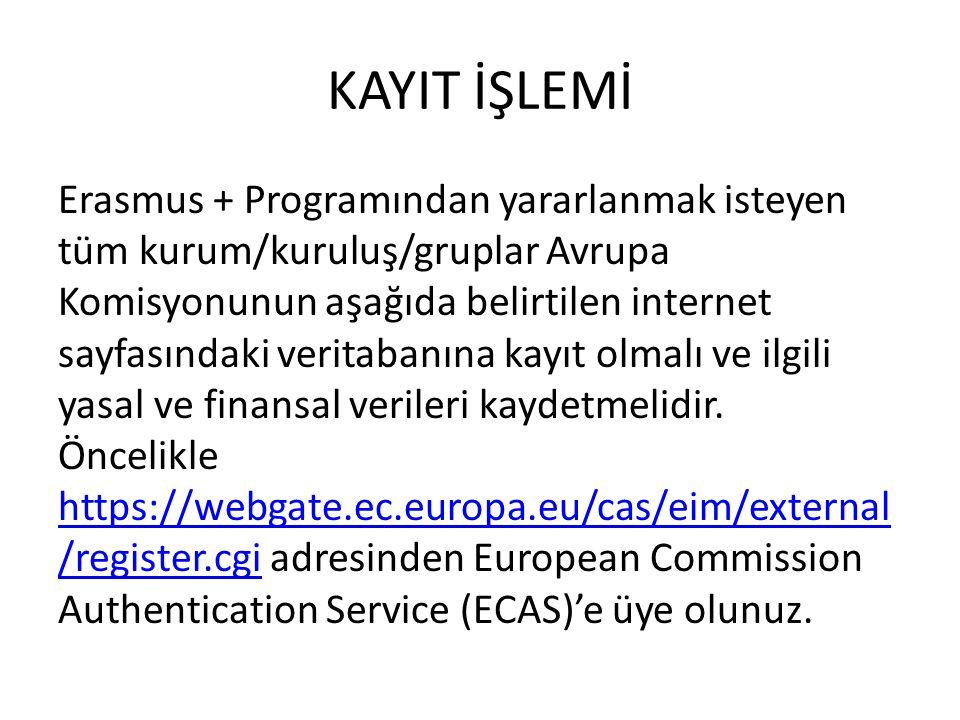 KAYIT İŞLEMİ Erasmus + Programından yararlanmak isteyen tüm kurum/kuruluş/gruplar Avrupa Komisyonunun aşağıda belirtilen internet sayfasındaki veritabanına kayıt olmalı ve ilgili yasal ve finansal verileri kaydetmelidir.