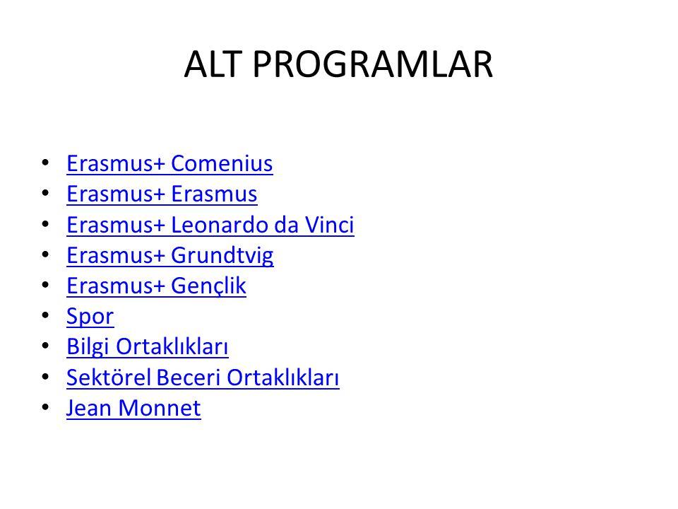 ALT PROGRAMLAR Erasmus+ Comenius Erasmus+ Erasmus Erasmus+ Leonardo da Vinci Erasmus+ Grundtvig Erasmus+ Gençlik Spor Bilgi Ortaklıkları Sektörel Beceri Ortaklıkları Jean Monnet