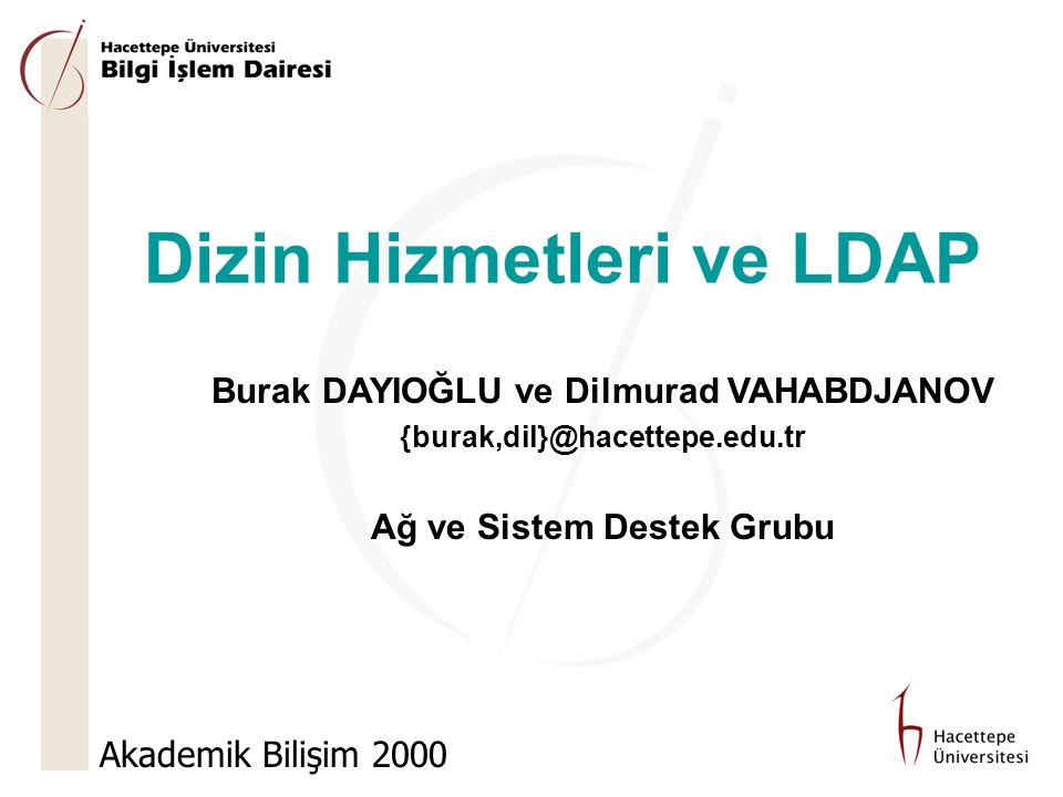 AB'2000 Sunum Planı  Dizin nedir. Dizinler ve veritabanları  LDAP nedir.