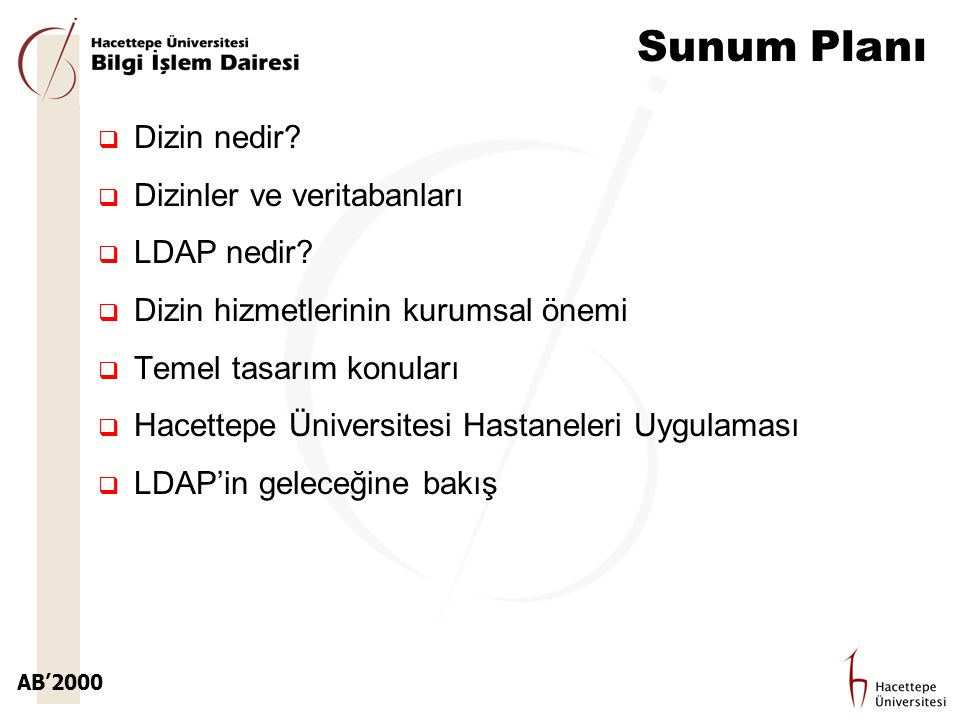 AB'2000 Sunum Planı  Dizin nedir?  Dizinler ve veritabanları  LDAP nedir?  Dizin hizmetlerinin kurumsal önemi  Temel tasarım konuları  Hacettepe