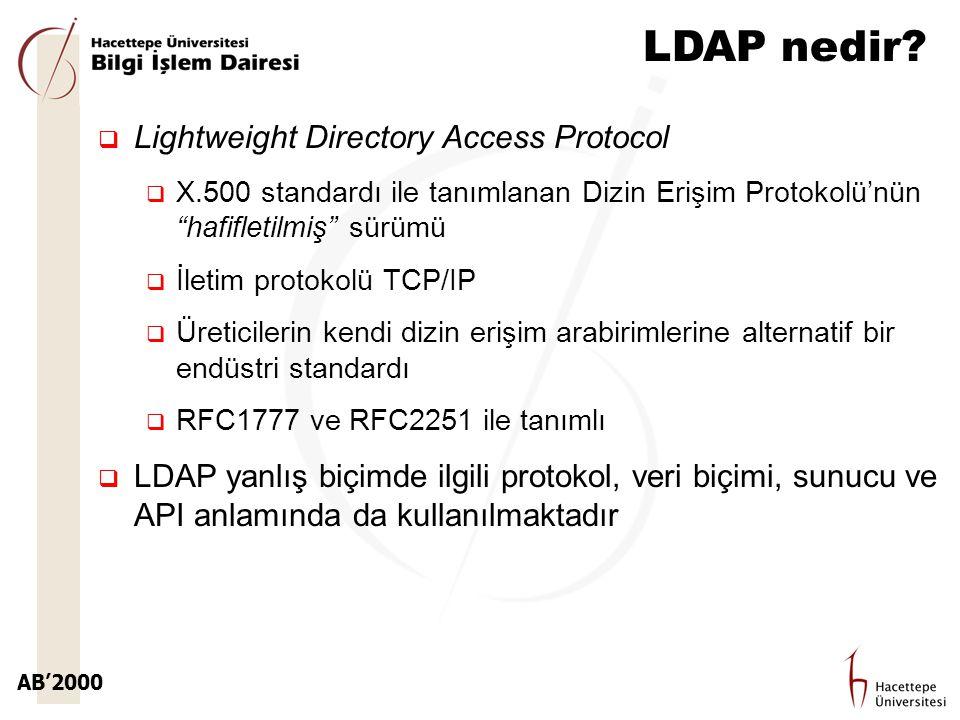 """AB'2000 LDAP nedir?  Lightweight Directory Access Protocol  X.500 standardı ile tanımlanan Dizin Erişim Protokolü'nün """"hafifletilmiş"""" sürümü  İleti"""