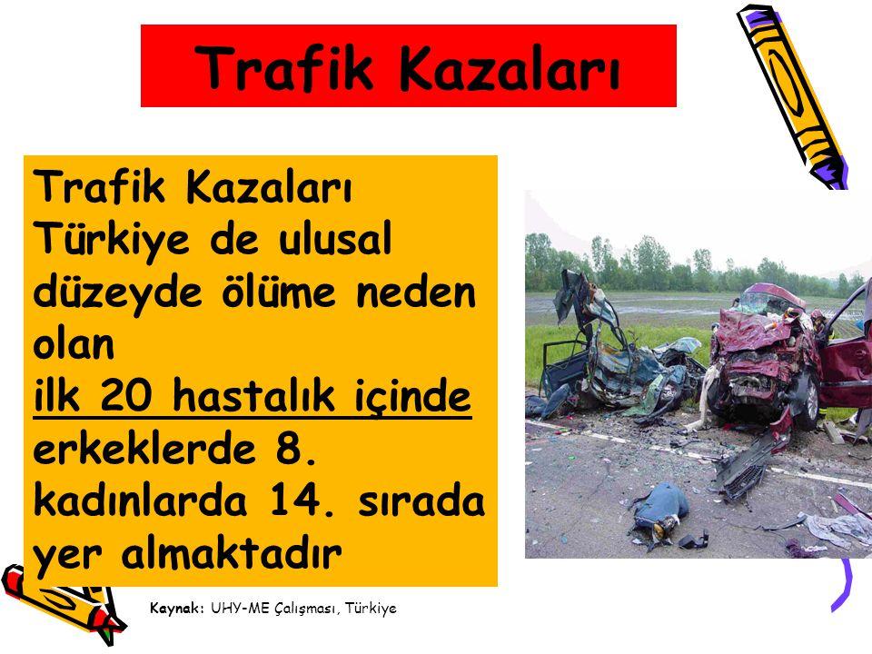 Trafik Kazaları Trafik Kazaları Türkiye de ulusal düzeyde ölüme neden olan ilk 20 hastalık içinde erkeklerde 8. kadınlarda 14. sırada yer almaktadır K