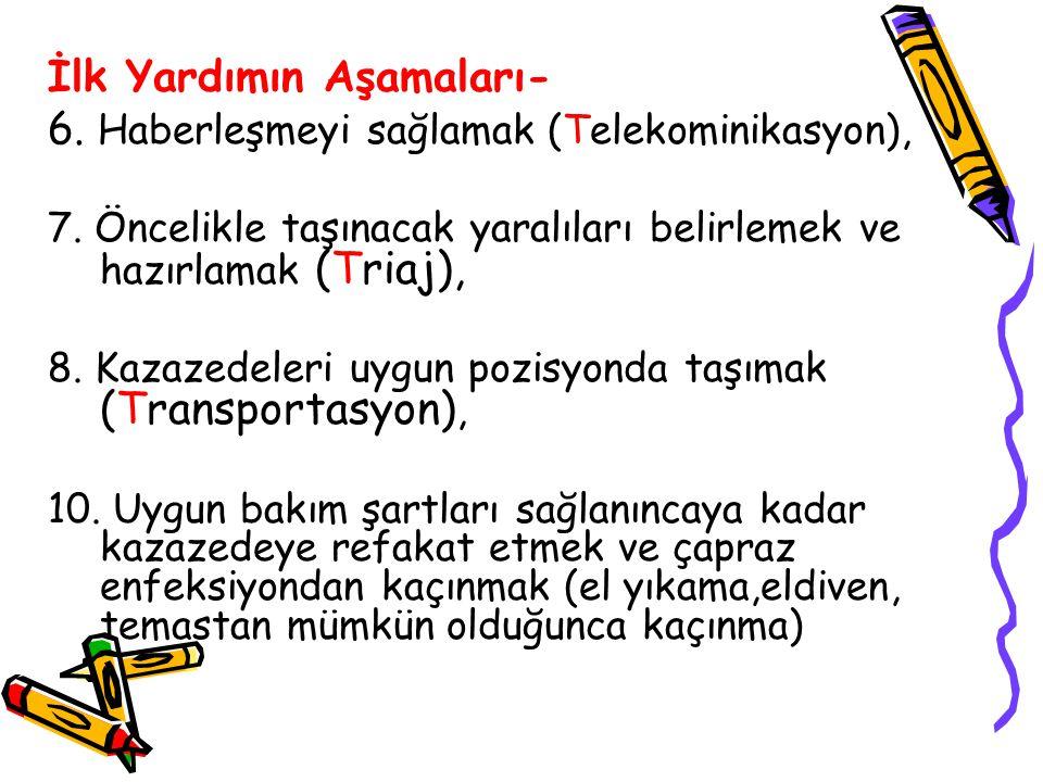 İlk Yardımın Aşamaları- 6. Haberleşmeyi sağlamak (Telekominikasyon), 7. Öncelikle taşınacak yaralıları belirlemek ve hazırlamak (Triaj), 8. Kazazedele