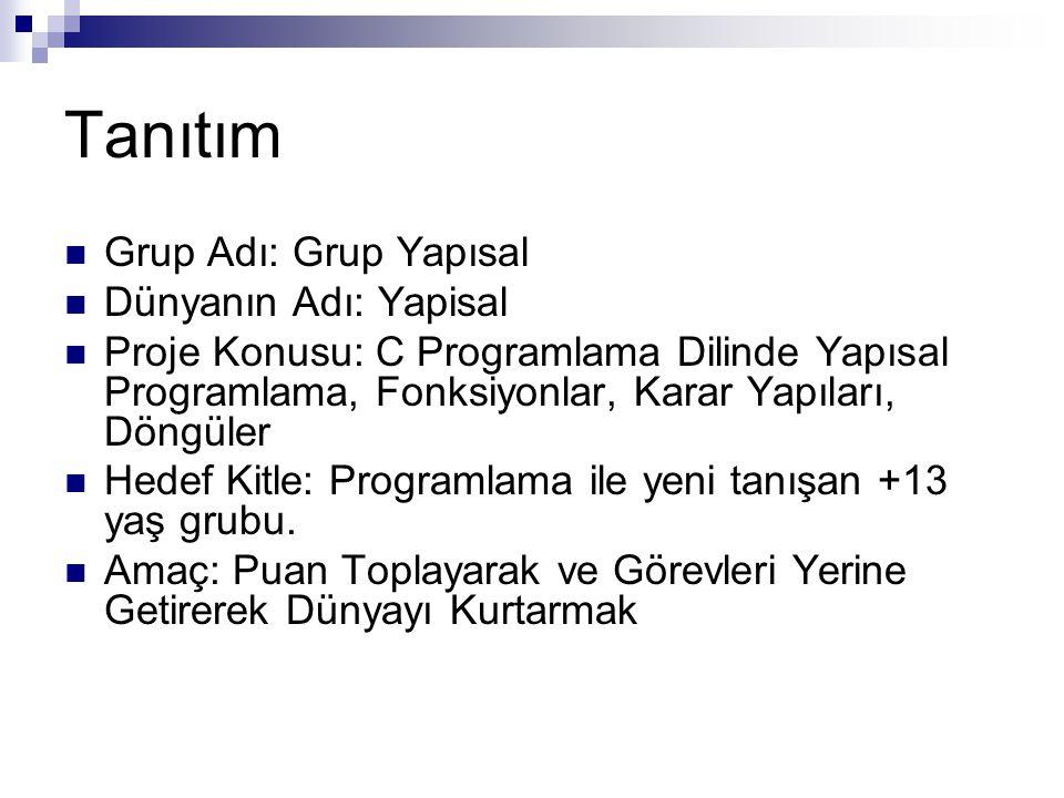 Tanıtım Grup Adı: Grup Yapısal Dünyanın Adı: Yapisal Proje Konusu: C Programlama Dilinde Yapısal Programlama, Fonksiyonlar, Karar Yapıları, Döngüler H