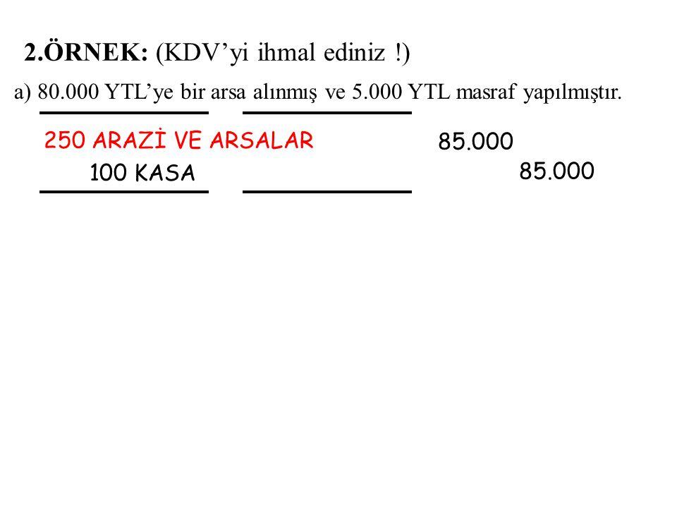 a) 80.000 YTL'ye bir arsa alınmış ve 5.000 YTL masraf yapılmıştır.