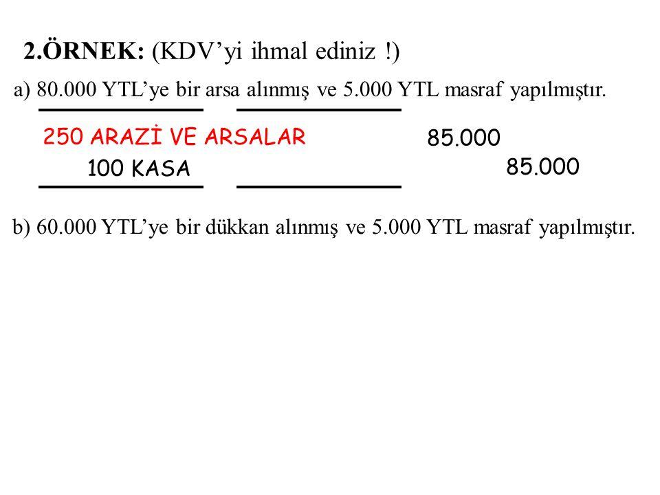 2.ÖRNEK: (KDV'yi ihmal ediniz !) 250 ARAZİ VE ARSALAR 100 KASA 85.000 85.000 a) 80.000 YTL'ye bir arsa alınmış ve 5.000 YTL masraf yapılmıştır.
