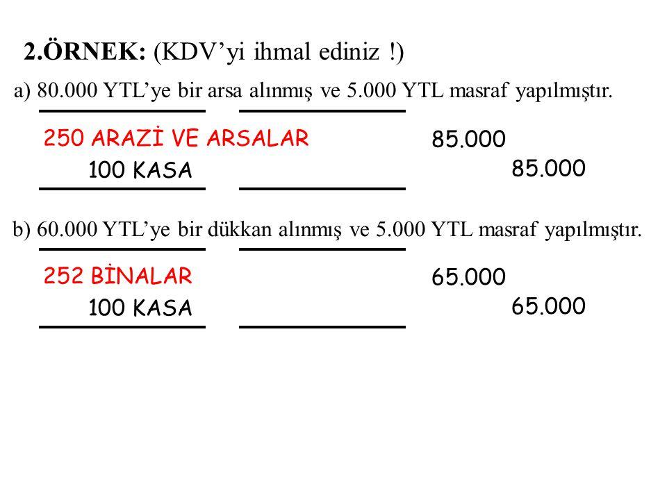 2.ÖRNEK: (KDV'yi ihmal ediniz !) 250 ARAZİ VE ARSALAR 100 KASA 85.000 85.000 b) 60.000 YTL'ye bir dükkan alınmış ve 5.000 YTL masraf yapılmıştır. a) 8