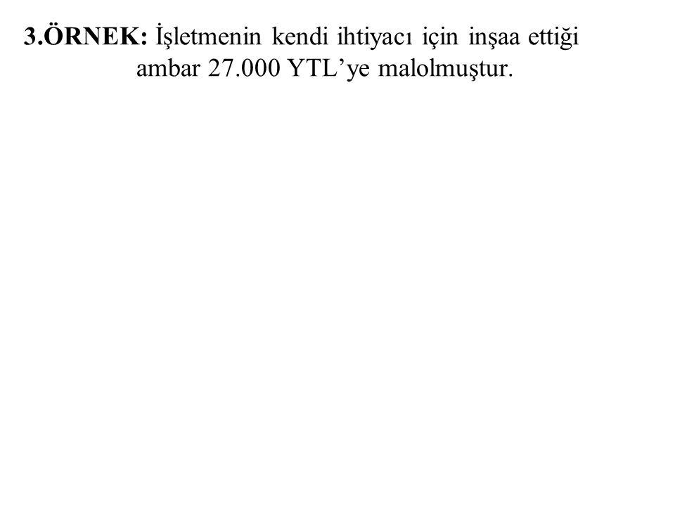 2.ÖRNEK: (KDV'yi ihmal ediniz !) 250 ARAZİ VE ARSALAR 100 KASA 85.000 85.000 b) 60.000 YTL'ye bir dükkan alınmış ve 5.000 YTL masraf yapılmıştır. c) 8