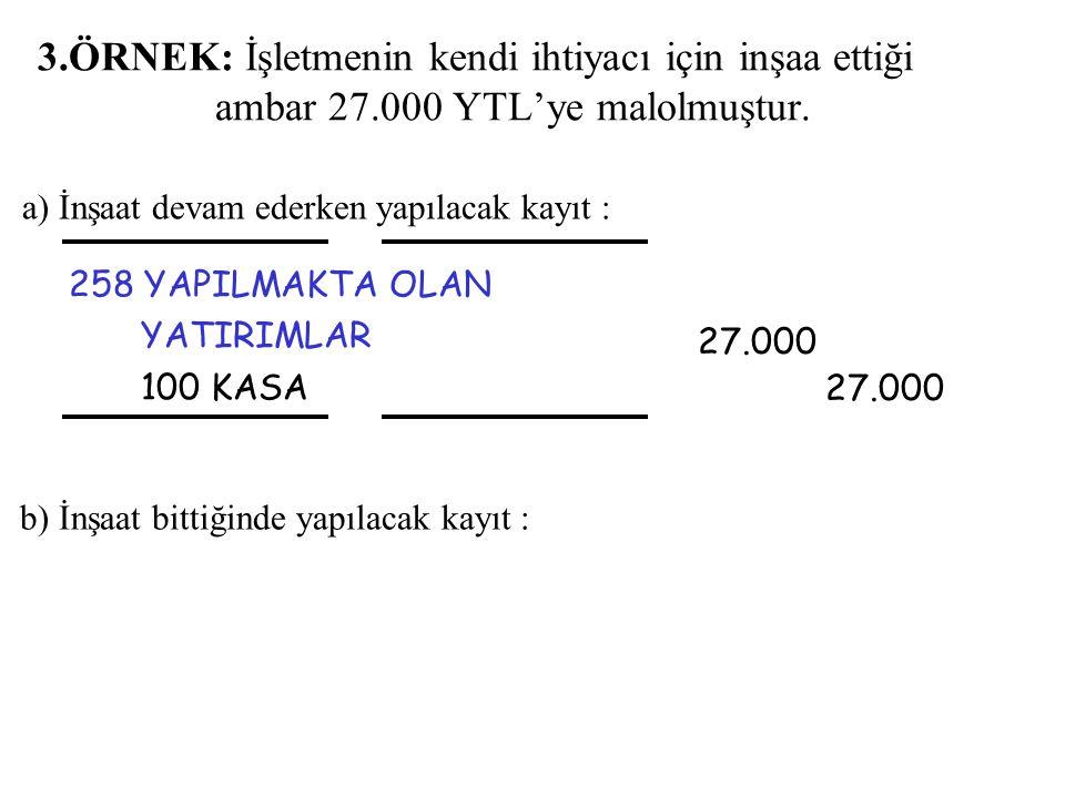 3.ÖRNEK: İşletmenin kendi ihtiyacı için inşaa ettiği ambar 27.000 YTL'ye malolmuştur. 258 YAPILMAKTA OLAN YATIRIMLAR 100 KASA 27.000 27.000 a) İnşaat