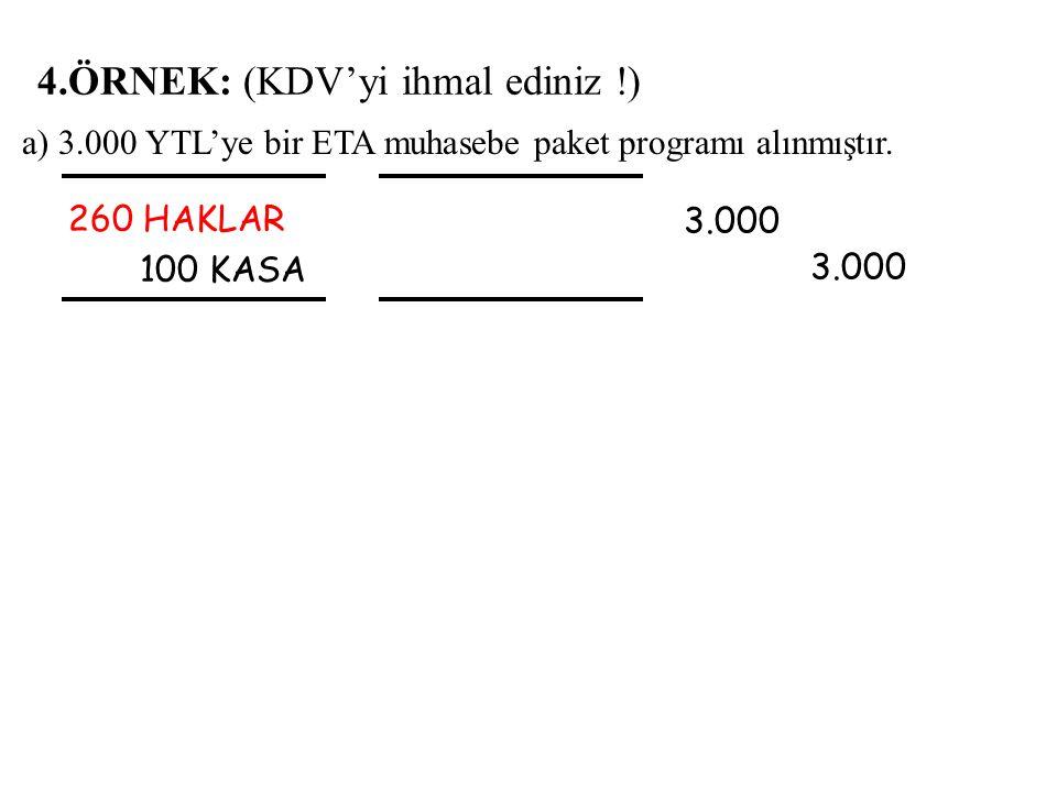 a) 3.000 YTL'ye bir ETA muhasebe paket programı alınmıştır.