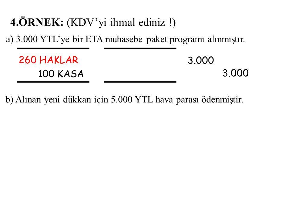 4.ÖRNEK: (KDV'yi ihmal ediniz !) 260 HAKLAR 100 KASA 3.000 3.000 a) 3.000 YTL'ye bir ETA muhasebe paket programı alınmıştır.