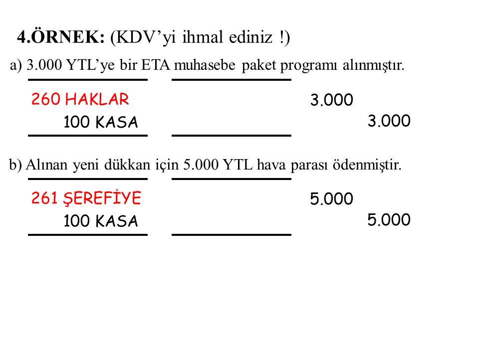 4.ÖRNEK: (KDV'yi ihmal ediniz !) 260 HAKLAR 100 KASA 3.000 3.000 b) Alınan yeni dükkan için 5.000 YTL hava parası ödenmiştir. a) 3.000 YTL'ye bir ETA