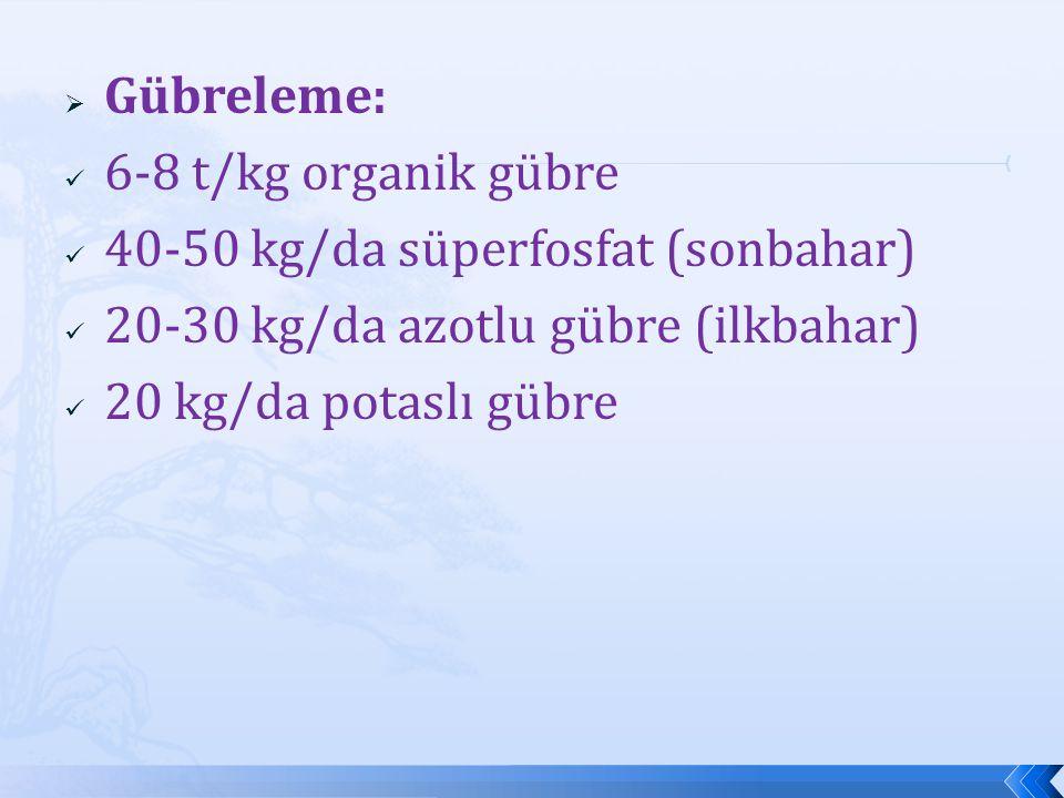  Gübreleme: 6-8 t/kg organik gübre 40-50 kg/da süperfosfat (sonbahar) 20-30 kg/da azotlu gübre (ilkbahar) 20 kg/da potaslı gübre