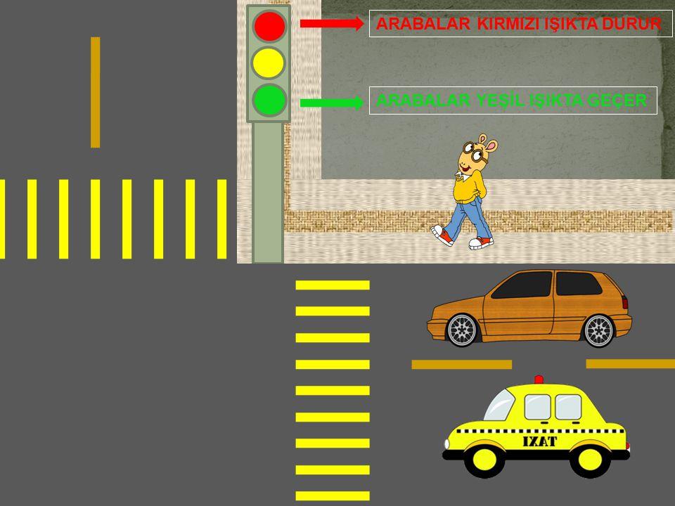 3 - Arabalar kırmızı ışıkta durduğunda kim geçer ? A – Taksi B -Otobüs C - İnsanlar