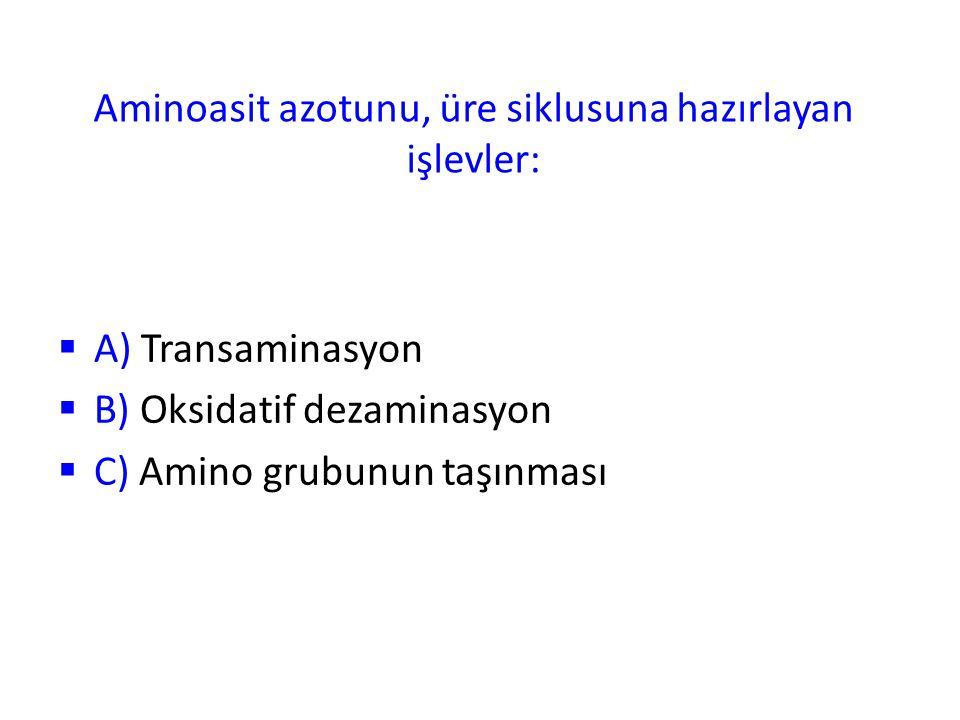 Aminoasit azotunu, üre siklusuna hazırlayan işlevler:  A) Transaminasyon  B) Oksidatif dezaminasyon  C) Amino grubunun taşınması