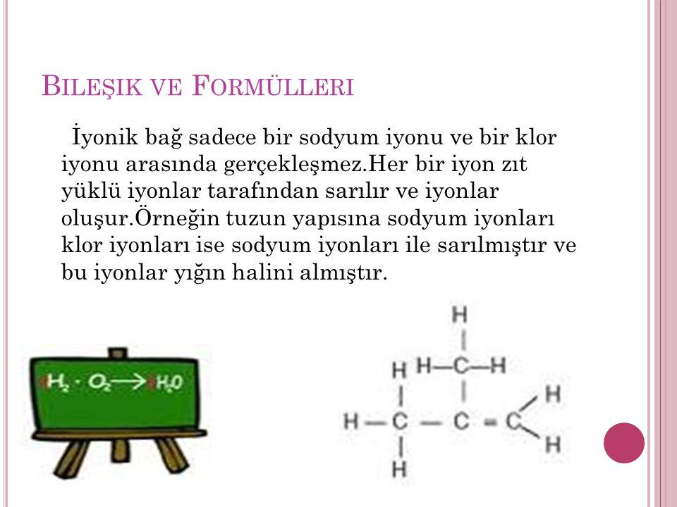 B ILEŞIK VE F ORMÜLLERI İyonik bağ sadece bir sodyum iyonu ve bir klor iyonu arasında gerçekleşmez.Her bir iyon zıt yüklü iyonlar tarafından sarılır ve iyonlar oluşur.Örneğin tuzun yapısına sodyum iyonları klor iyonları ise sodyum iyonları ile sarılmıştır ve bu iyonlar yığın halini almıştır.