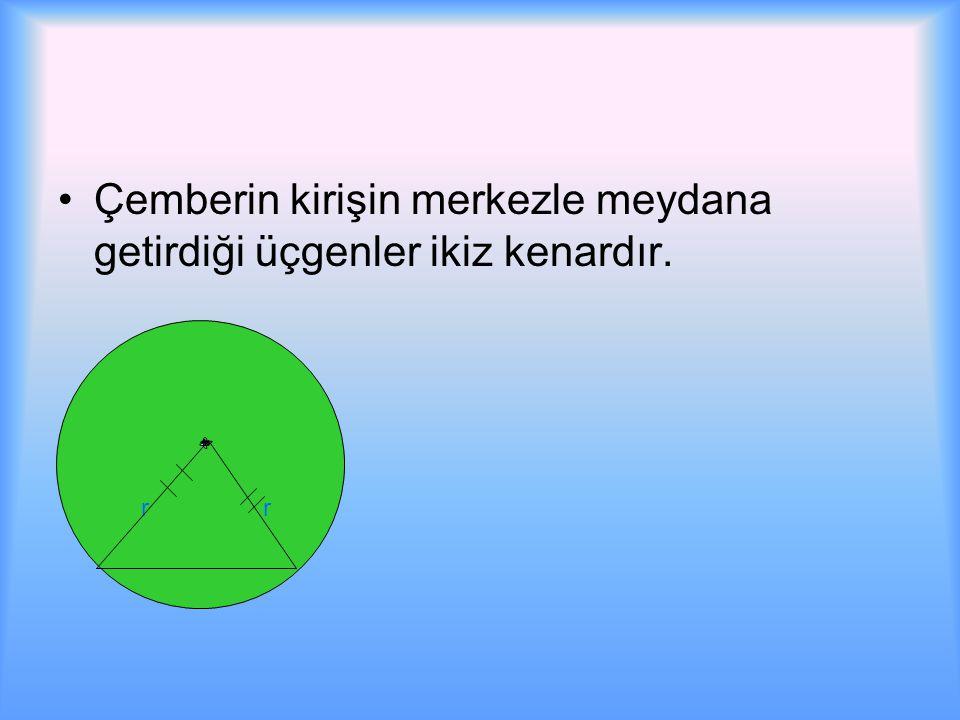 Çemberin kirişin merkezle meydana getirdiği üçgenler ikiz kenardır. r r