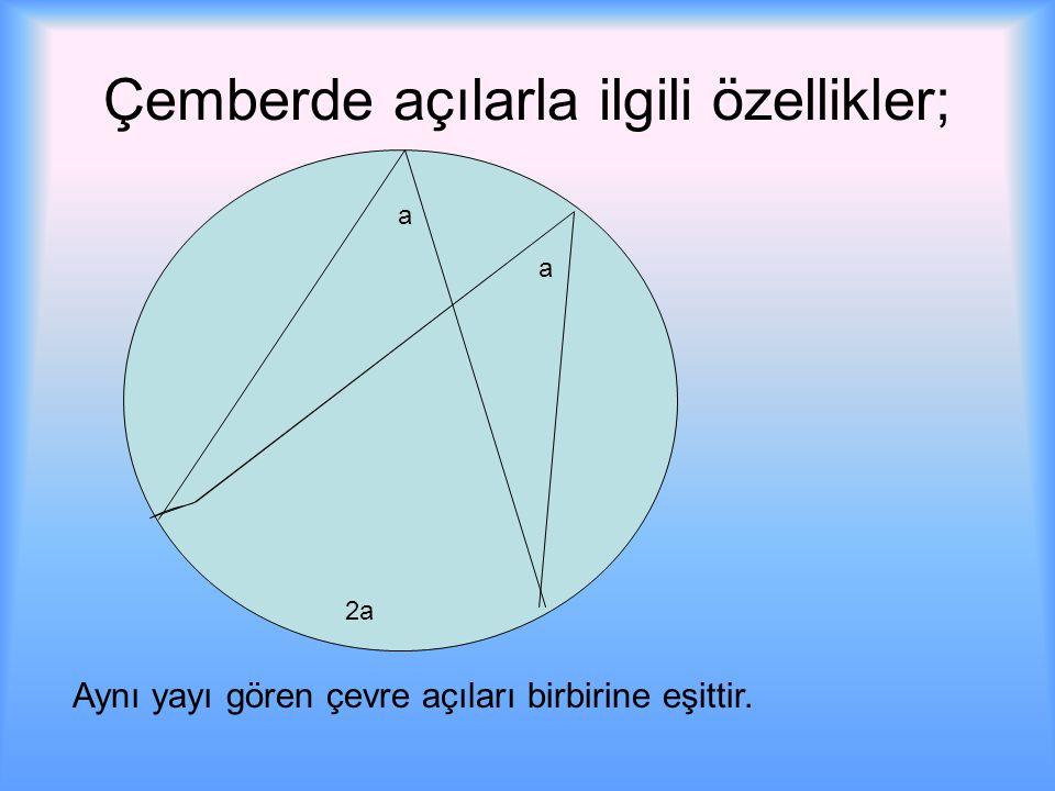 Çemberde açılarla ilgili özellikler; Aynı yayı gören çevre açıları birbirine eşittir. a a 2a