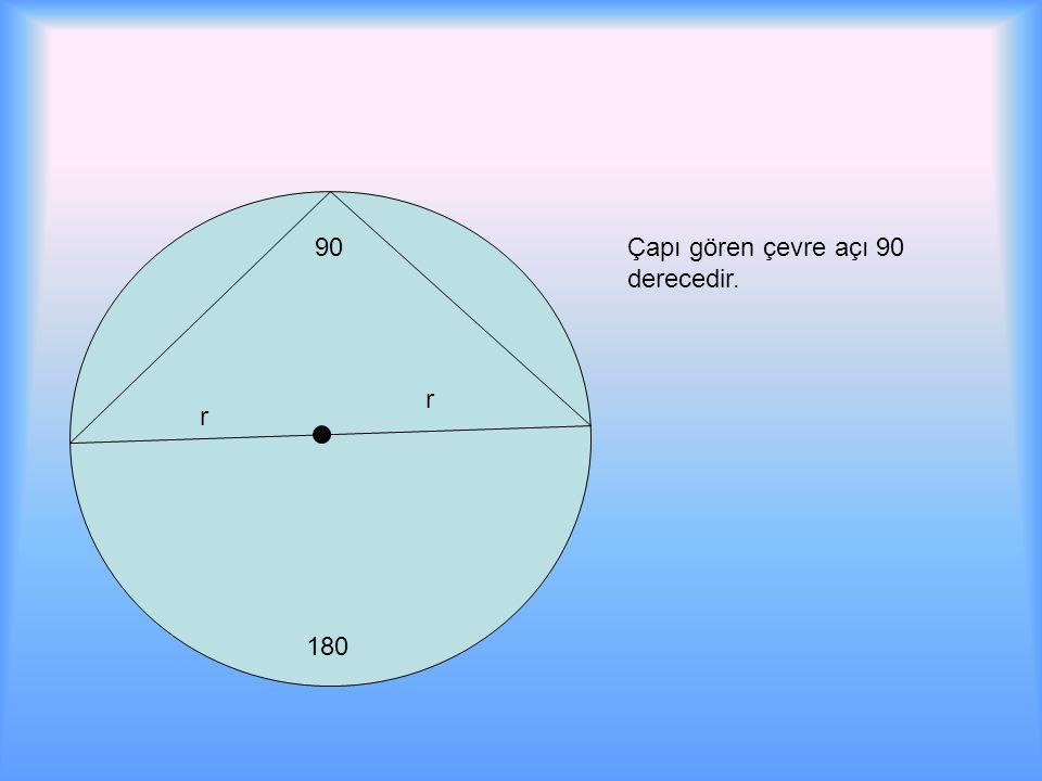90 180 Çapı gören çevre açı 90 derecedir. r r
