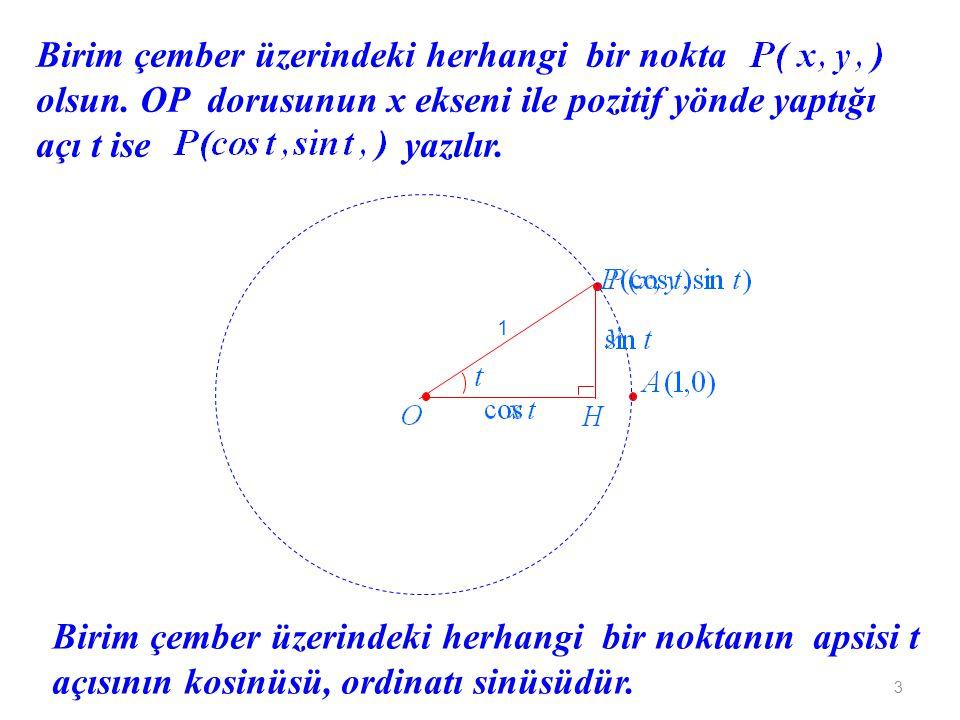 3 Birim çember üzerindeki herhangi bir nokta olsun. OP dorusunun x ekseni ile pozitif yönde yaptığı açı t ise yazılır. 1 Birim çember üzerindeki herha