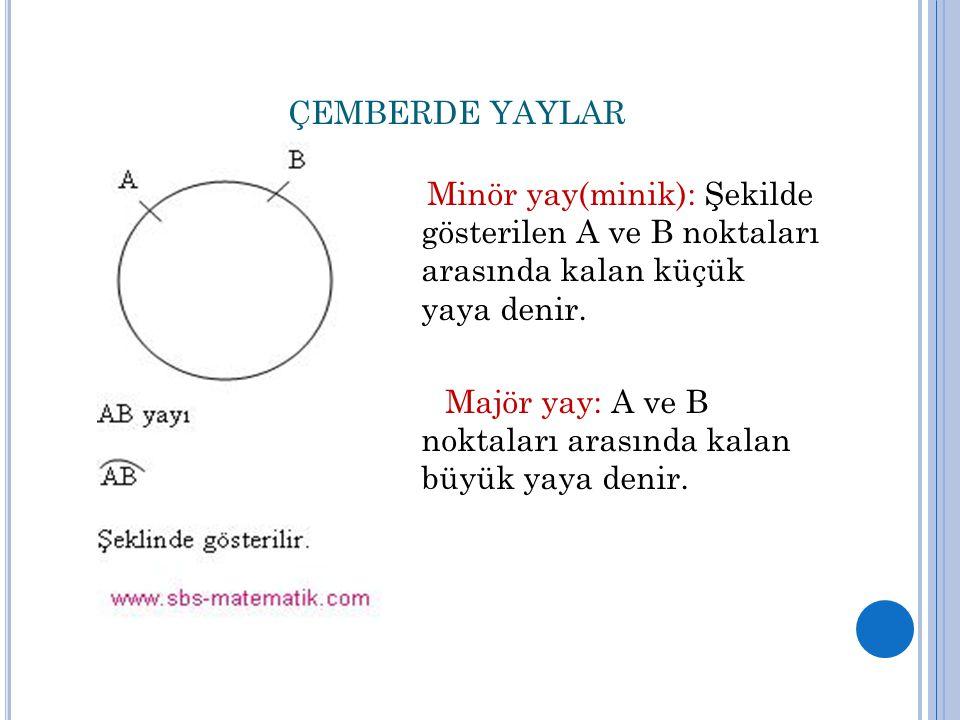 ÇEMBERDE YAYLAR Minör yay(minik): Şekilde gösterilen A ve B noktaları arasında kalan küçük yaya denir.