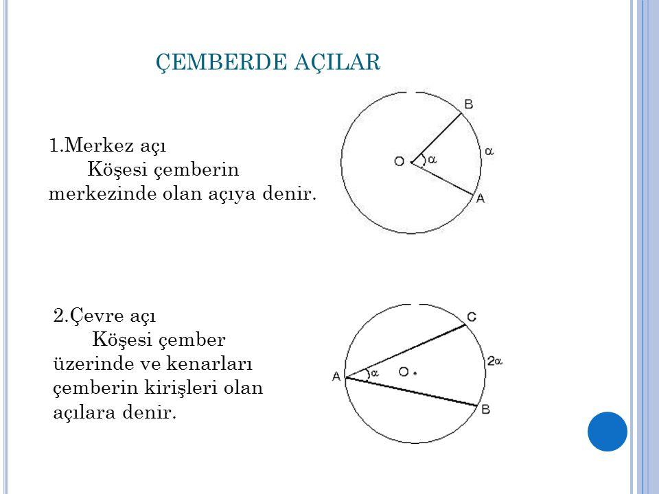 ÇEMBERDE AÇILAR 1.Merkez açı Köşesi çemberin merkezinde olan açıya denir.
