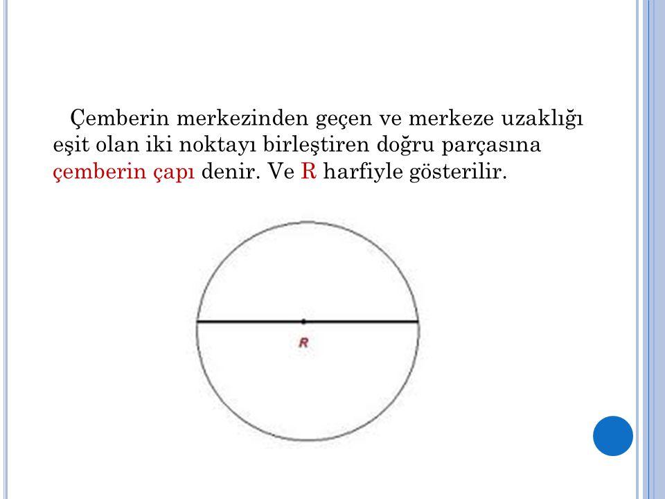 Çemberin merkezinden geçen ve merkeze uzaklığı eşit olan iki noktayı birleştiren doğru parçasına çemberin çapı denir.