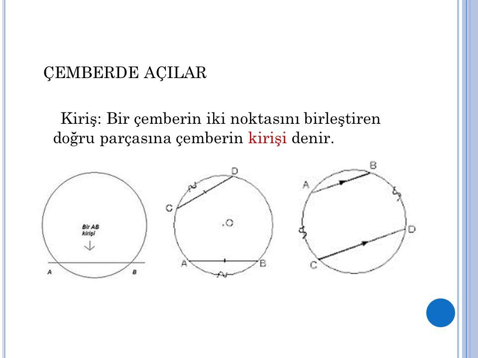 ÇEMBERDE AÇILAR Kiriş: Bir çemberin iki noktasını birleştiren doğru parçasına çemberin kirişi denir.