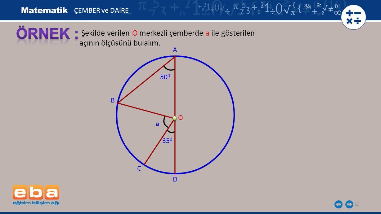 16 Şekilde verilen O merkezli çemberde a ile gösterilen açının ölçüsünü bulalım. A B C O ÇEMBER ve DAİRE 50 0 D 35 0 a