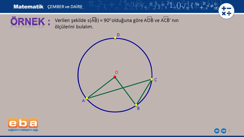 8 Verilen şekilde s(AB) = 90 0 olduğuna göre AOB ve ACB' nın ölçülerini bulalım. ( A B C O D ÇEMBER ve DAİRE