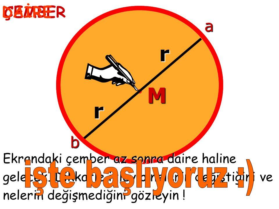 ÇEMBER M r r b a Ekrandaki çember az sonra daire haline gelecek.