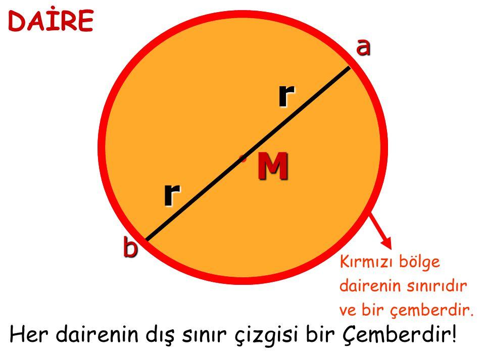 M r r b a Her dairenin dış sınır çizgisi bir Çemberdir.