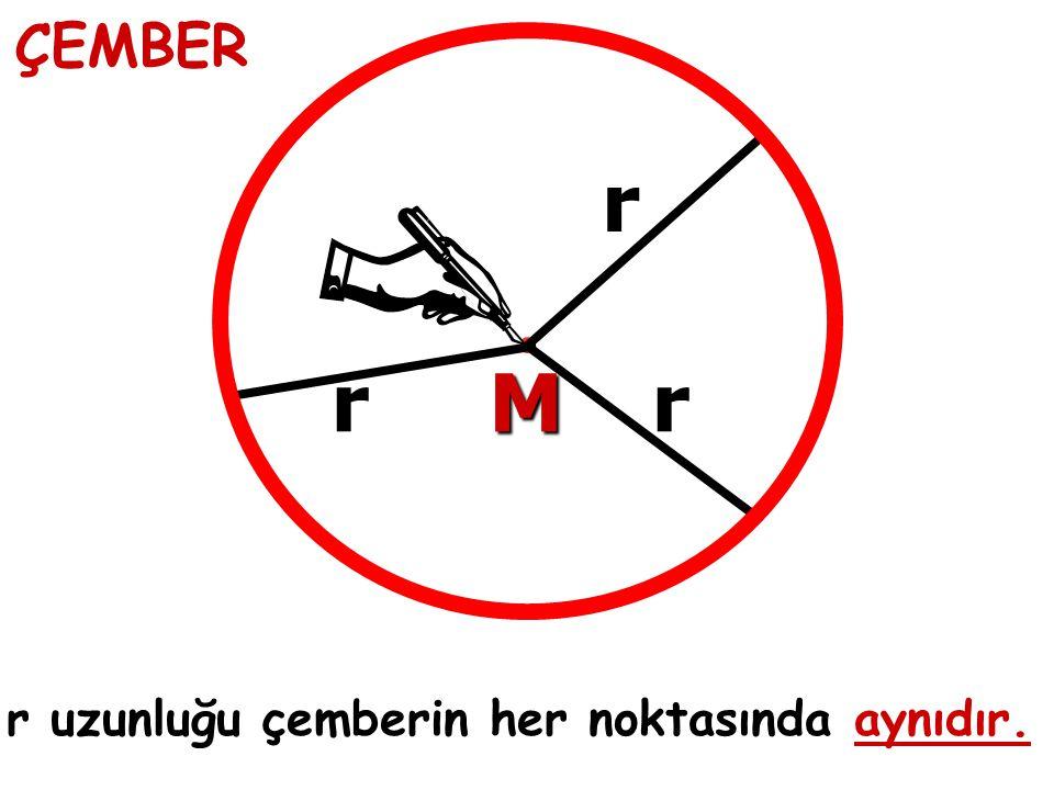 ÇEMBER M r r uzunluğu çemberin her noktasında aynıdır. rr