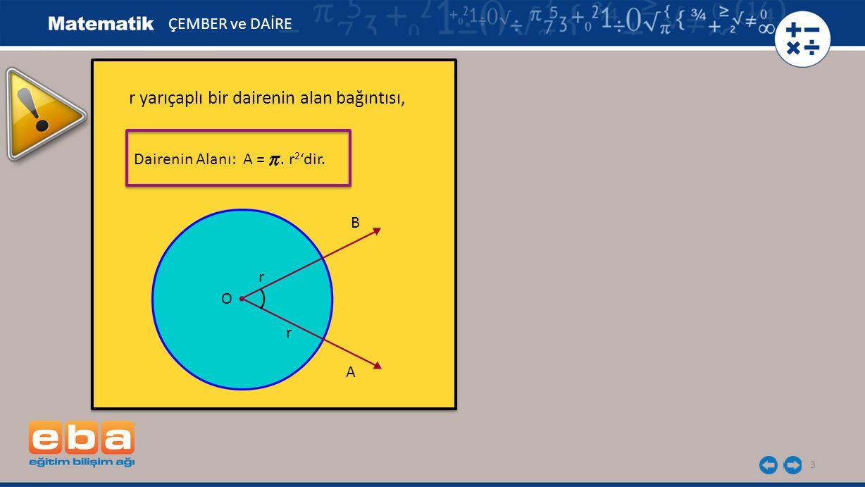 3 r yarıçaplı bir dairenin alan bağıntısı, r yarıçaplı bir dairenin alan bağıntısı, B ÇEMBER ve DAİRE A Dairenin Alanı: A =.