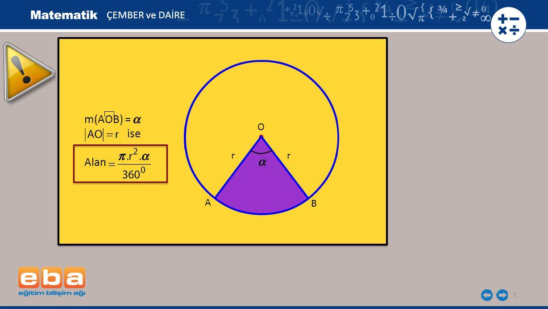 5 m(AOB) = ise Alan m(AOB) = ise Alan B ÇEMBER ve DAİRE A O rr