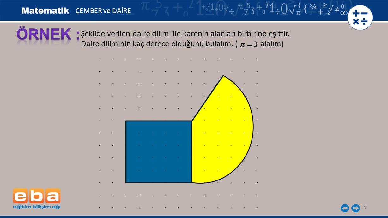 Bir kenarı 5 br olan karenin alanı: 5 2 = 25 br 2 9 ÇEMBER ve DAİRE