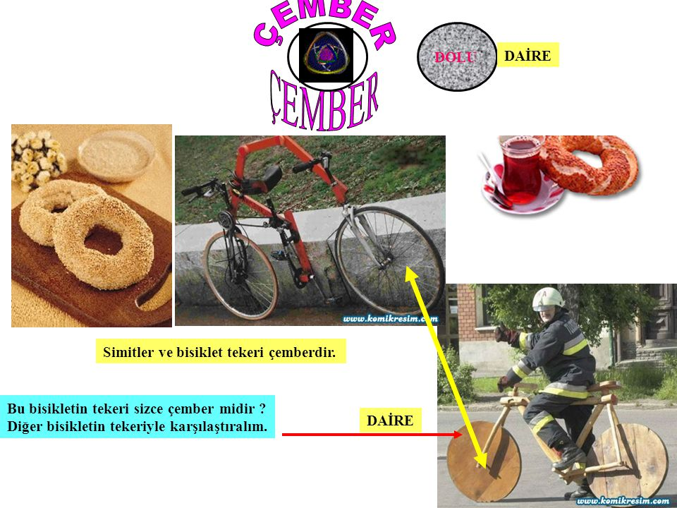 DAİRE BOŞ DOLU Simitler ve bisiklet tekeri çemberdir. Bu bisikletin tekeri sizce çember midir ? Diğer bisikletin tekeriyle karşılaştıralım. DAİRE