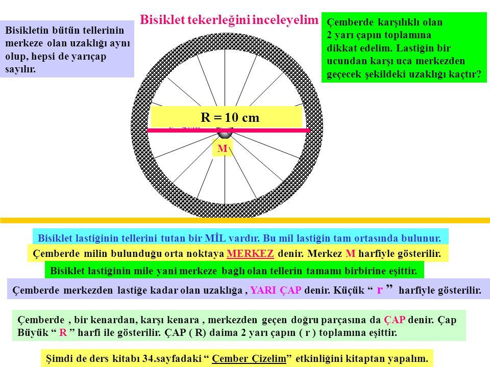 Bisiklet tekerleğini inceleyelim Bisiklet lastiğinin tellerini tutan bir MİL vardır. Bu mil lastiğin tam ortasında bulunur. Çemberde milin bulunduğu o