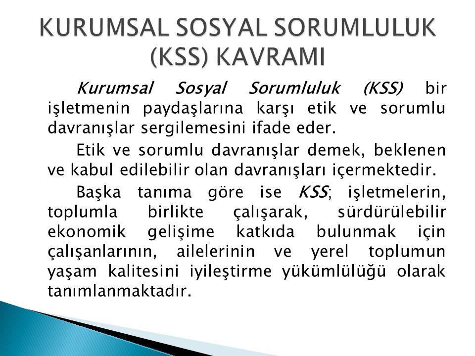 Kurumsal Sosyal Sorumluluk (KSS) bir işletmenin paydaşlarına karşı etik ve sorumlu davranışlar sergilemesini ifade eder. Etik ve sorumlu davranışlar d