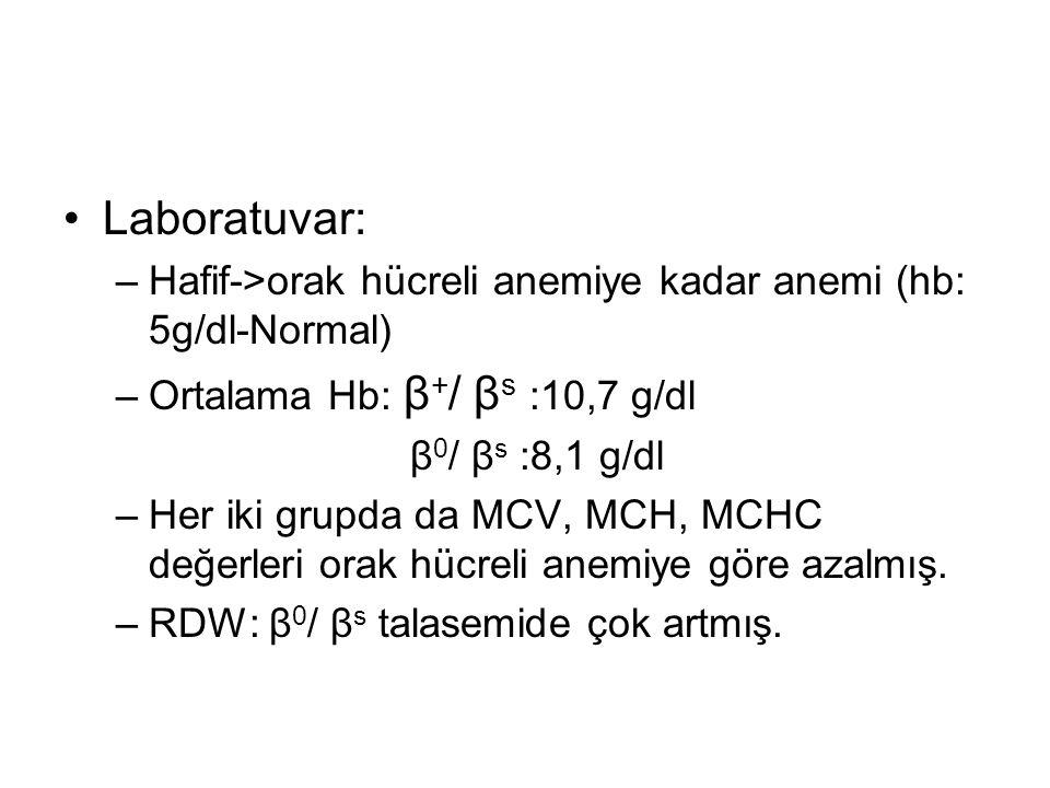Laboratuvar: –Hafif->orak hücreli anemiye kadar anemi (hb: 5g/dl-Normal) –Ortalama Hb: β + / β s :10,7 g/dl β 0 / β s :8,1 g/dl –Her iki grupda da MCV