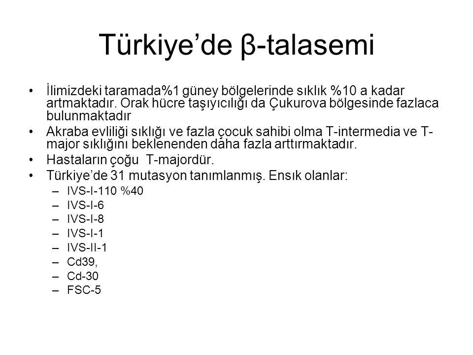 Türkiye'de β-talasemi İlimizdeki taramada%1 güney bölgelerinde sıklık %10 a kadar artmaktadır. Orak hücre taşıyıcılığı da Çukurova bölgesinde fazlaca
