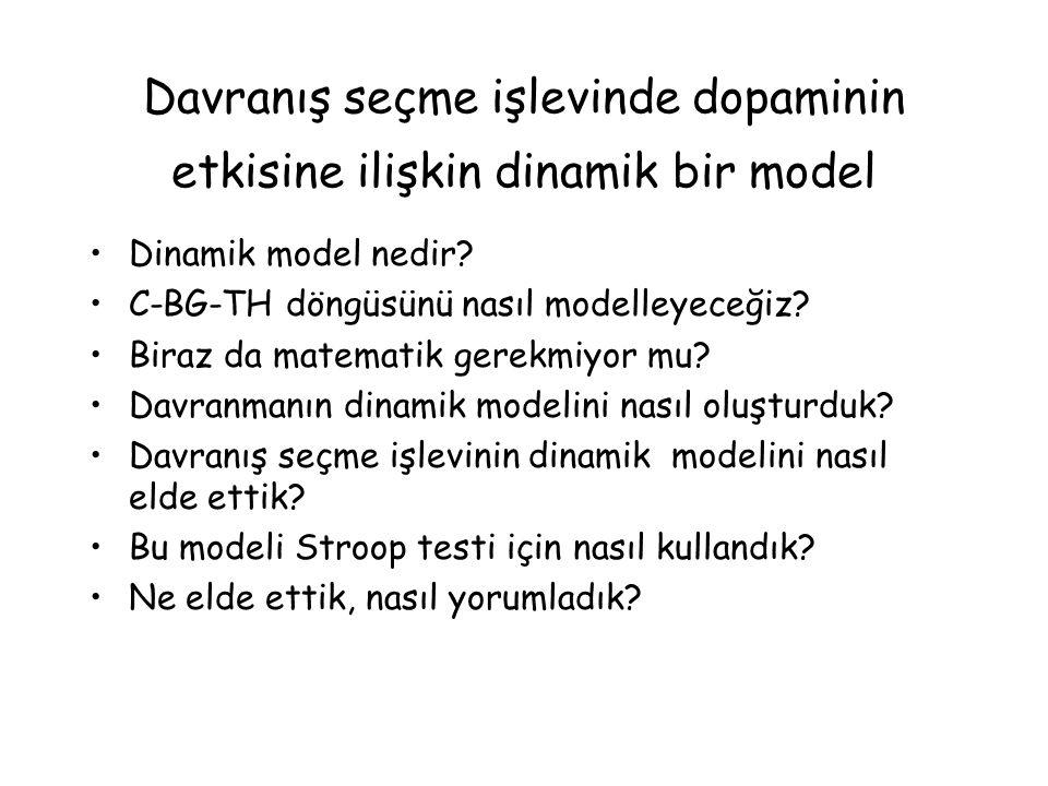 Davranış seçme işlevinde dopaminin etkisine ilişkin dinamik bir model Dinamik model nedir.