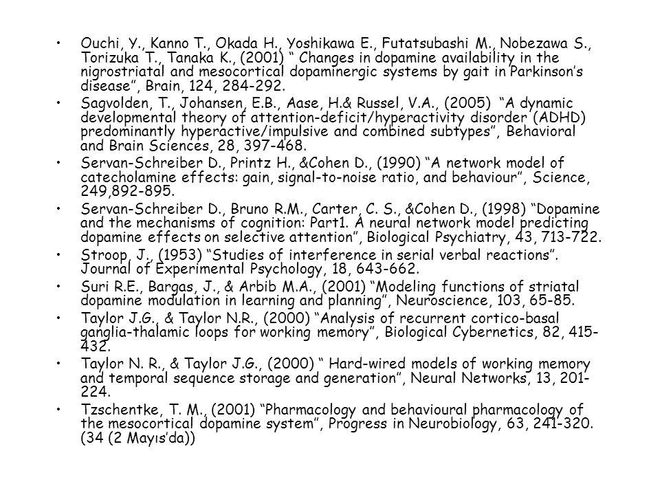 Ouchi, Y., Kanno T., Okada H., Yoshikawa E., Futatsubashi M., Nobezawa S., Torizuka T., Tanaka K., (2001) Changes in dopamine availability in the nigrostriatal and mesocortical dopaminergic systems by gait in Parkinson's disease , Brain, 124, 284-292.