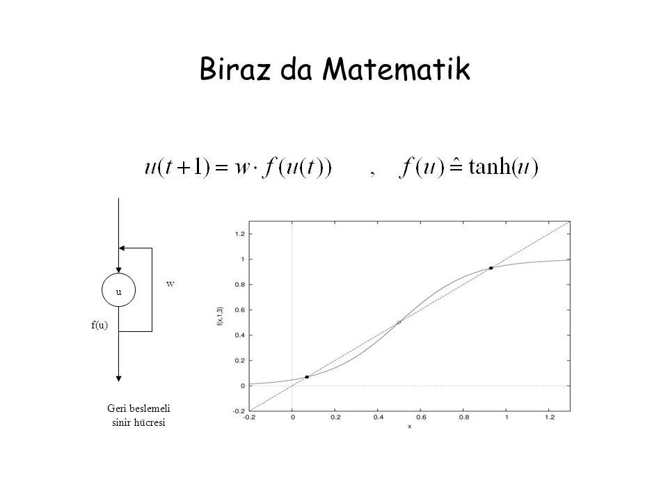 Biraz da Matematik w u f(u) Geri beslemeli sinir hücresi