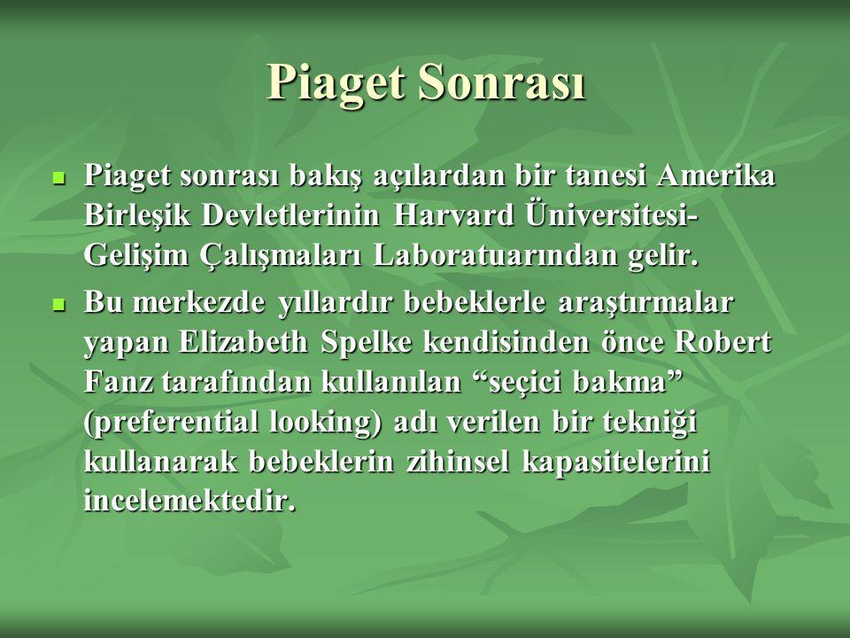 Piaget Sonrası Piaget sonrası bakış açılardan bir tanesi Amerika Birleşik Devletlerinin Harvard Üniversitesi- Gelişim Çalışmaları Laboratuarından geli