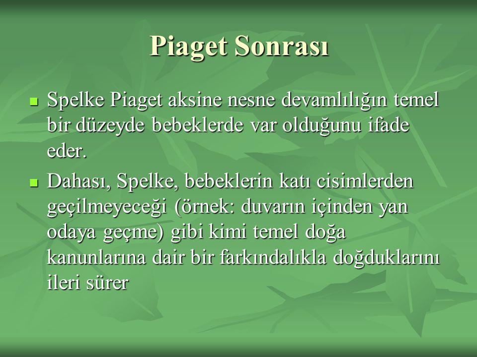 Piaget Sonrası Spelke Piaget aksine nesne devamlılığın temel bir düzeyde bebeklerde var olduğunu ifade eder. Spelke Piaget aksine nesne devamlılığın t